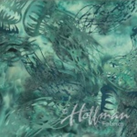 Hoffman Fabrics From the Depths Juneau Green Jellyfish Bali Batik Fabric Q2168-247-Juneau