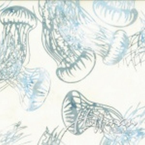 Hoffman Fabrics From the Depths Bluegrass White Jellyfish Bali Batik Fabric Q2168-581-Bluegrass