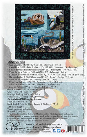 Wildfire Designs Alaska Maritime's Most Wanted Horned Puffin Applique Quilt Pattern Back Cover