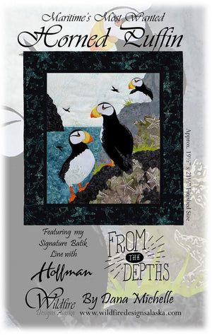 Wildfire Designs Alaska Maritime's Most Wanted Horned Puffin Applique Quilt Pattern Front Cover