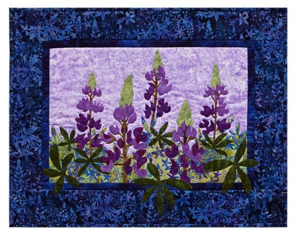 Wildfire Designs Alaska Into the Wild First Bloom Lupine Flower Wall Hanging Applique Quilt Pattern