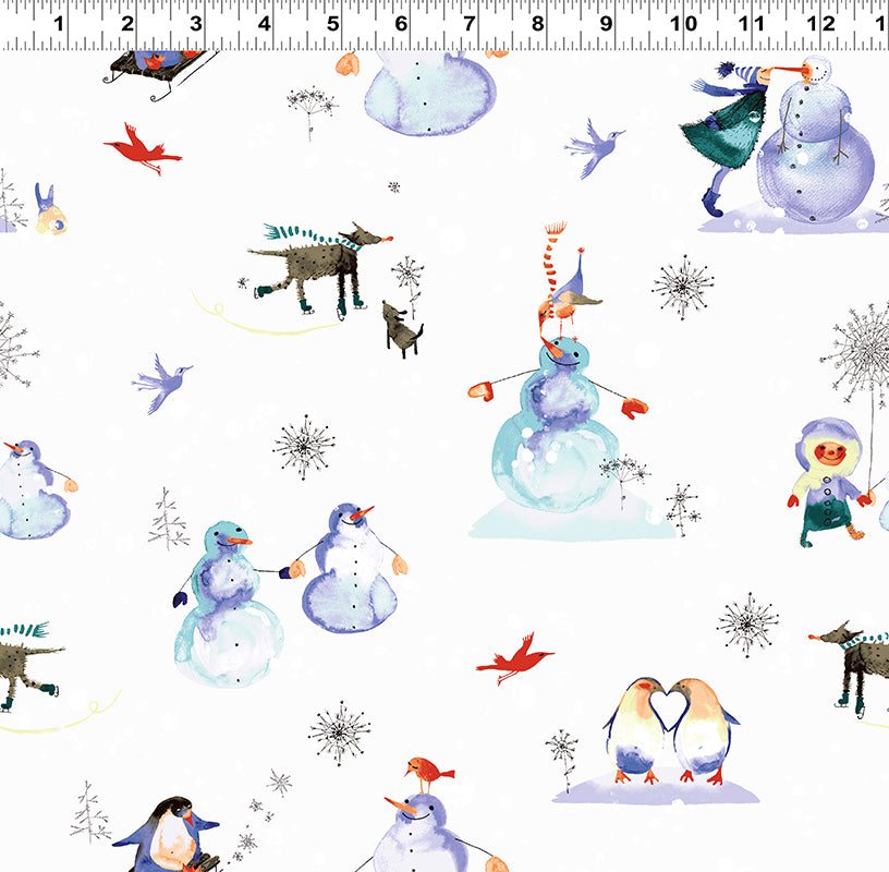 Clothworks Winter Love White Wonderland Love Story Cotton Fabric Y2498-116