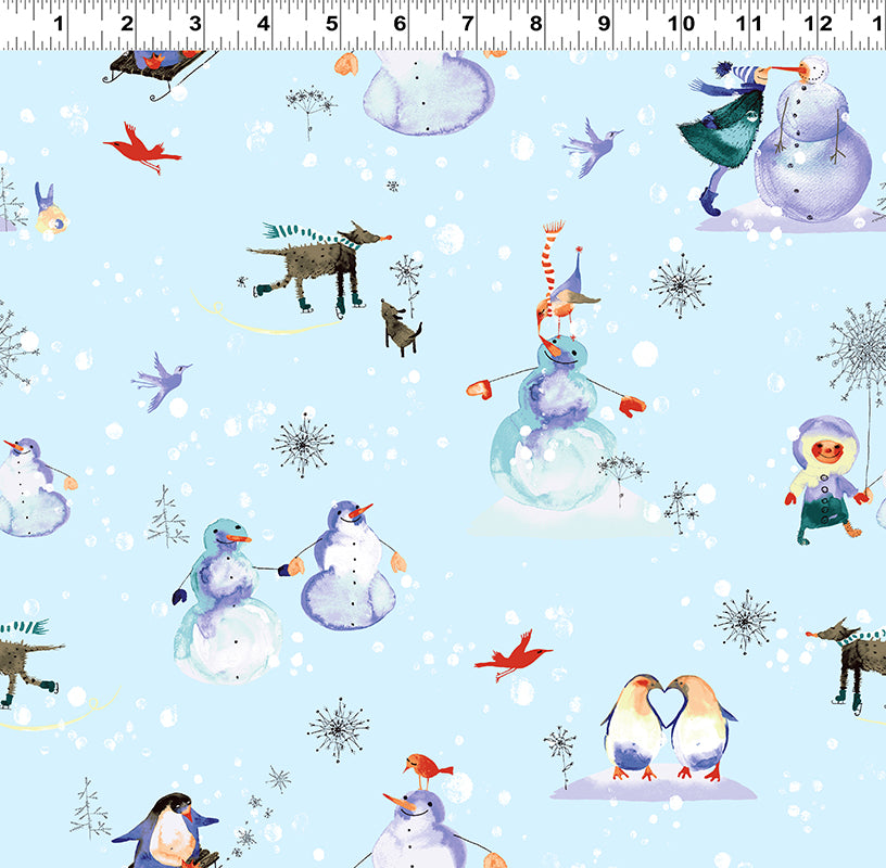 Clothworks Winter Love Light Blue Wonderland Love Story Cotton Fabric Y2498-29