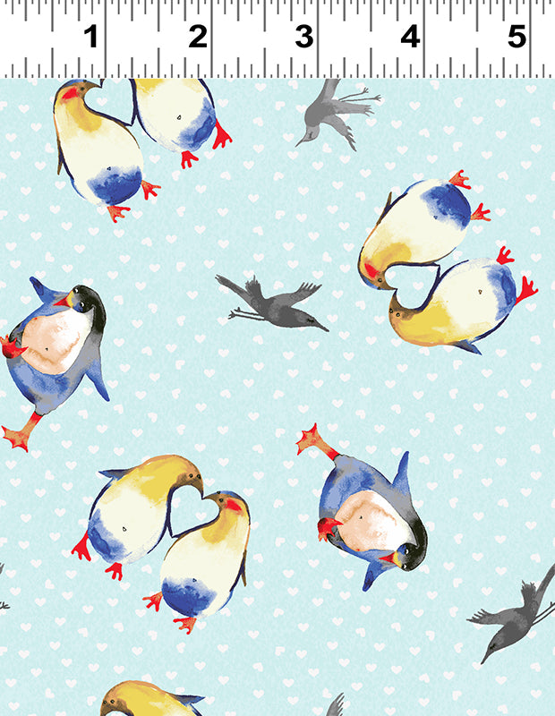 Clothworks Winter Love Light Blue Penguin Hearts Cotton Fabric Y2500-32