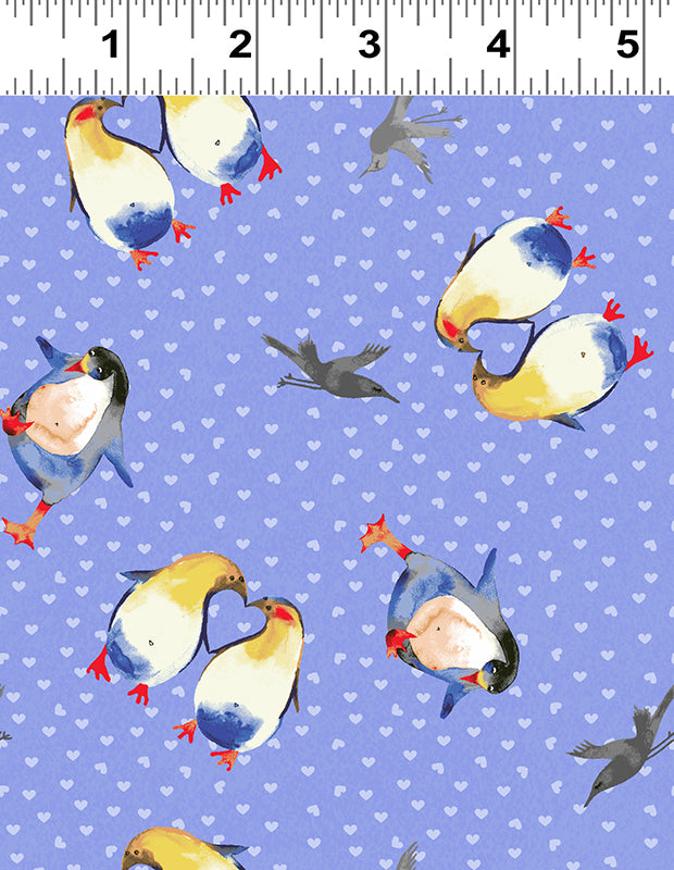 Clothworks Winter Love Periwinkle Purple Penguin Hearts Cotton Fabric Y2500-85