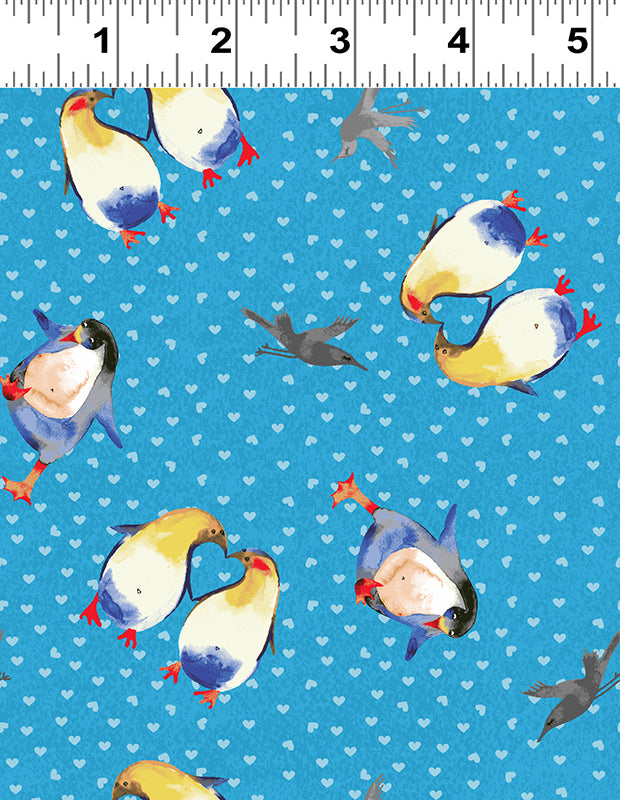 Clothworks Winter Love Sky Blue Penguin Hearts Cotton Fabric Y2500-98