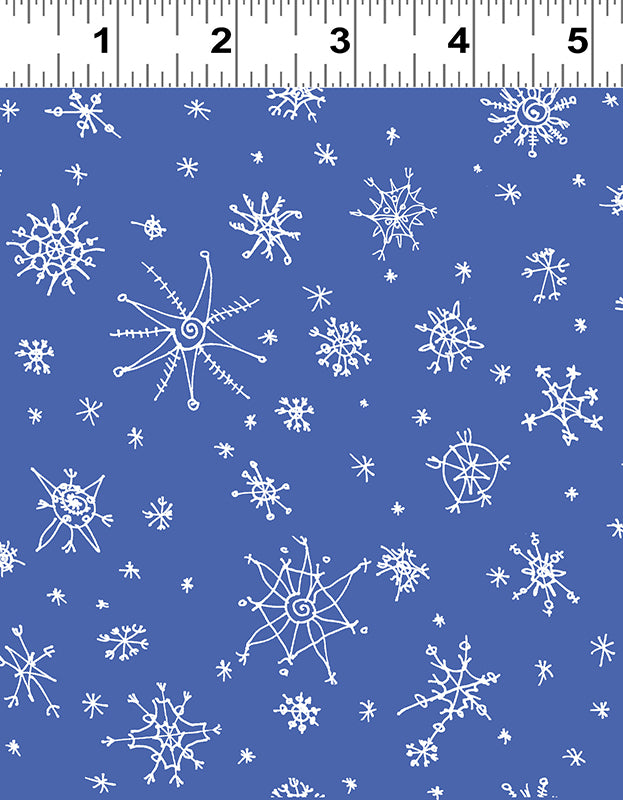 Clothworks Winter Love White Snowflakes on Blue Cotton Fabric Y2501-91