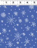 Clothworks Winter Love White Snowflakes on Blue Cotton Fabric Y2501-91 Scale