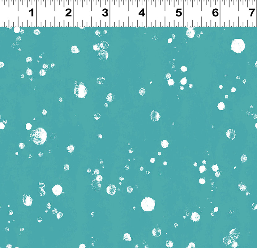 Clothworks Winter Love Snowballs on Blue Cotton Fabric Y2502-104 Scale