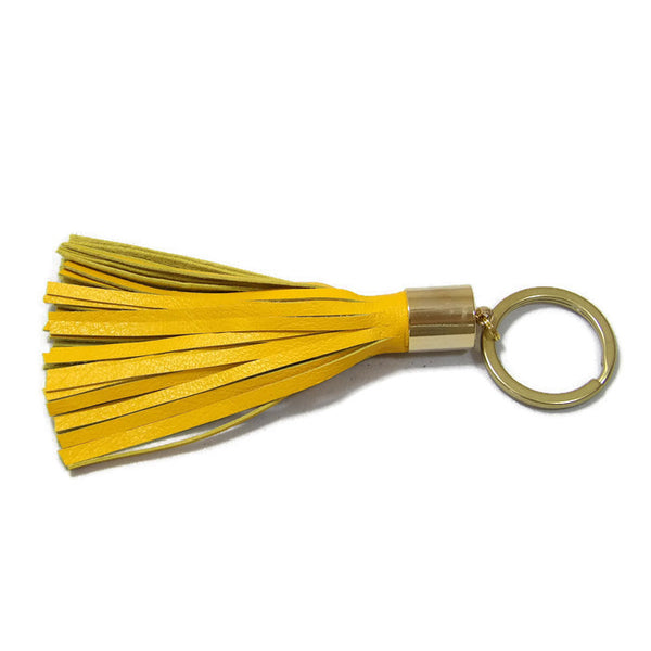 Yellow Lambskin Leather Tassel Keychain with 14k Gold Plated Brass Top Free Gift Wrap