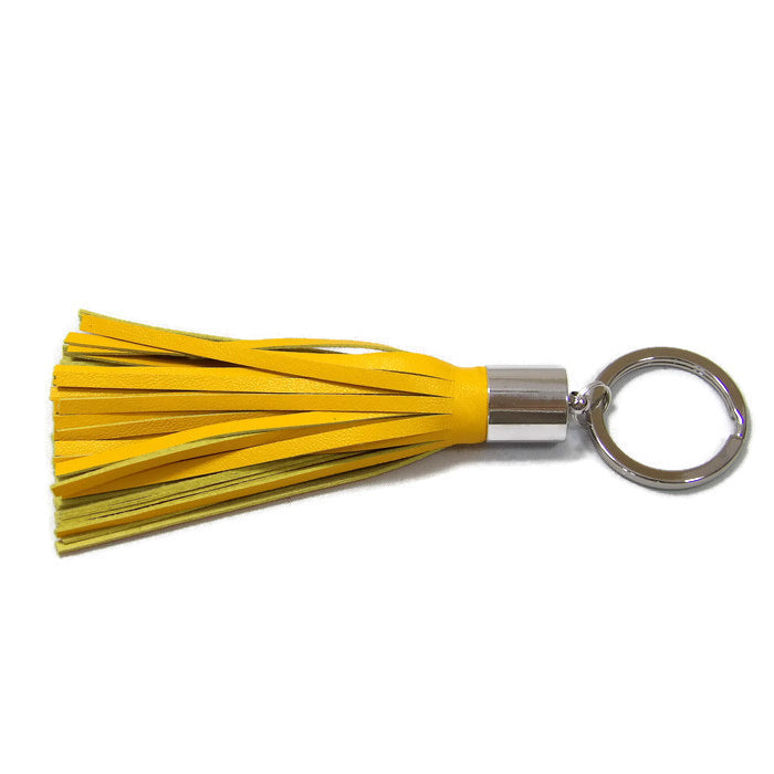 Yellow Lambskin Leather Tassel Keychain with Rhodium Plated Brass Top Free Gift Wrap