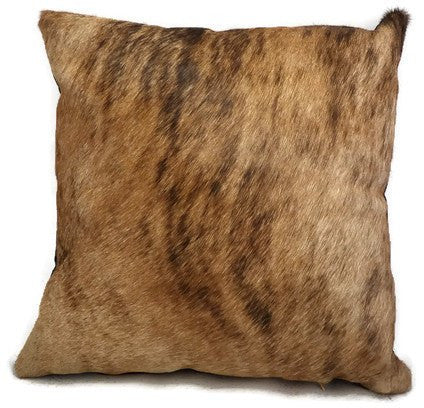 Brindle Hair On Cowhide Leather Pillow with Dark Brown Suede Back and Bottom Zip