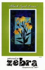 Zebra Patterns Yellow Black Eyed Susan Flower Applique Quilt Pattern Front Cover
