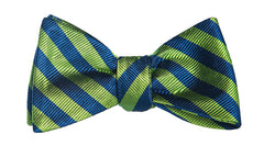 Green and Blue Stripes Bow Tie