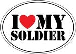 I Love my Soldier Oval Magnet