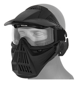 AMA Tactical Full Face Mask w Eye Safety & Visor - Black