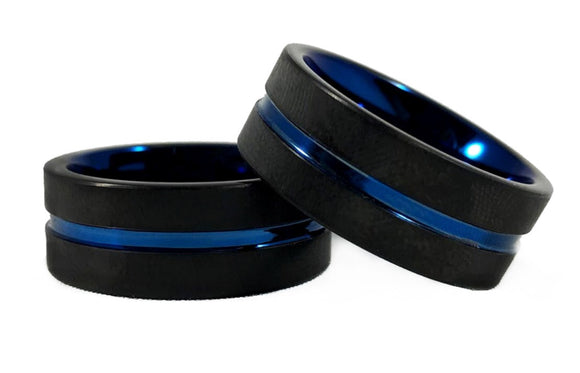 Men's Thin Blue Line Ring w Carbide