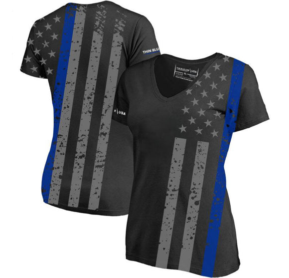 Women's Thin Blue Line Cross Body T-Shirt