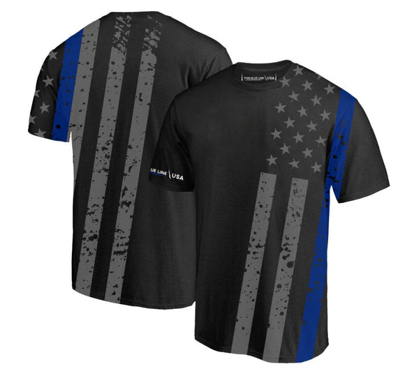 Thin Blue Line Mens Cross Body T-Shirt