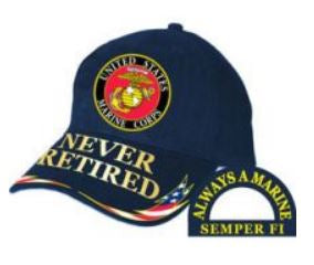 Blue US Marine Never Retired Cap