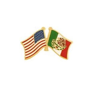 U.S. and Mexico Cross Flags Pin