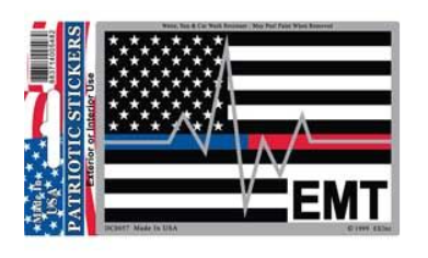 EMT Blue/ Red Line Heartbeat  Sticker