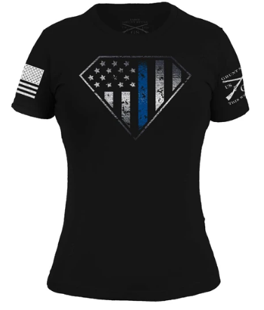 Grunt Style Ladies: Blue Line Crest T-Shirt