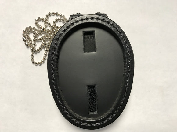 Oval Badge Holder Extra Thick w Clip & Chain