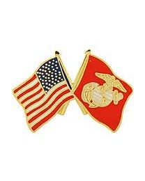US Flag w Marine Flag Pin 1'