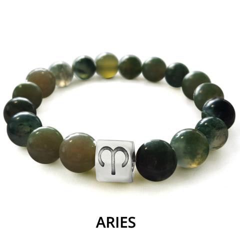 Green Marble Zodiac Charm Bracelet - Ships Within 24 Hours.