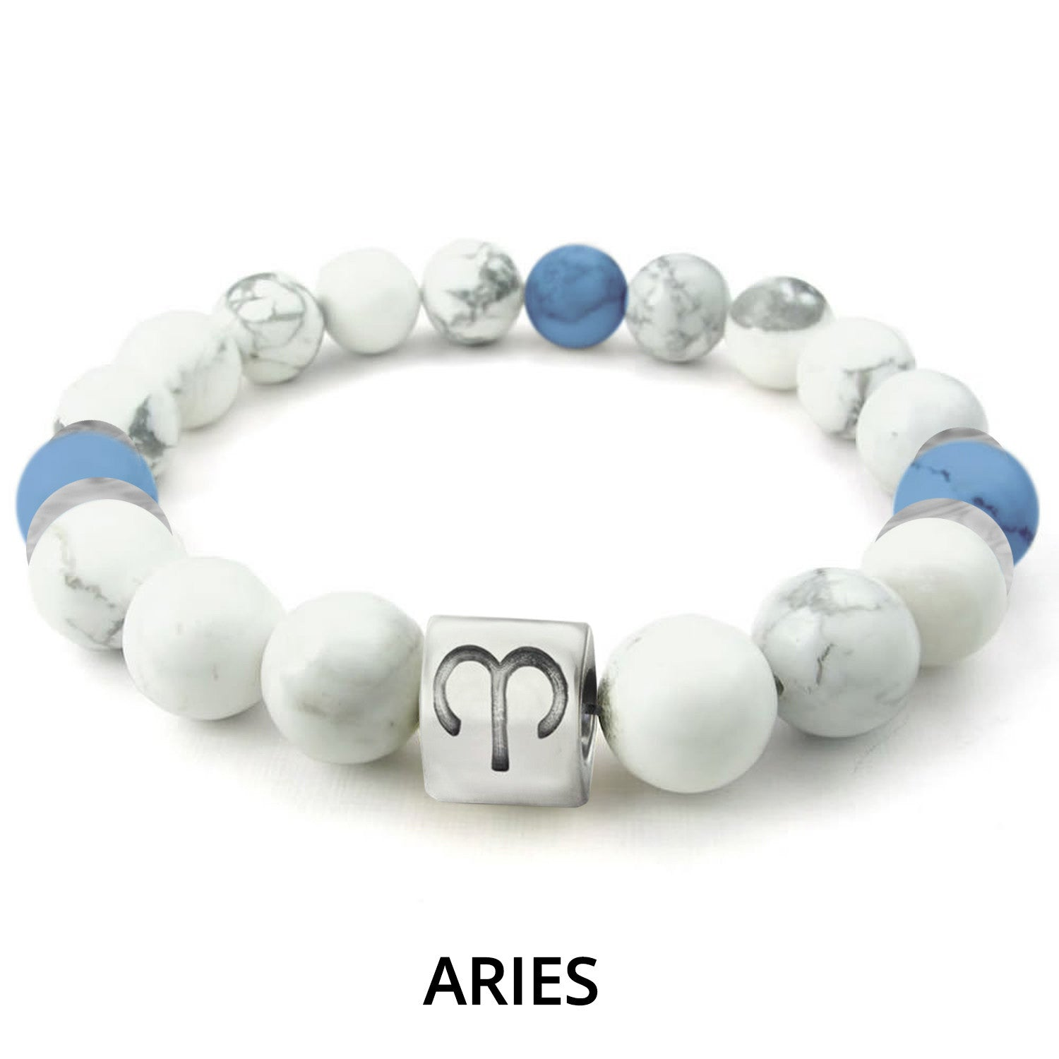 White Marble Zodiac Charm Bracelet - Ships Within 24 Hours.