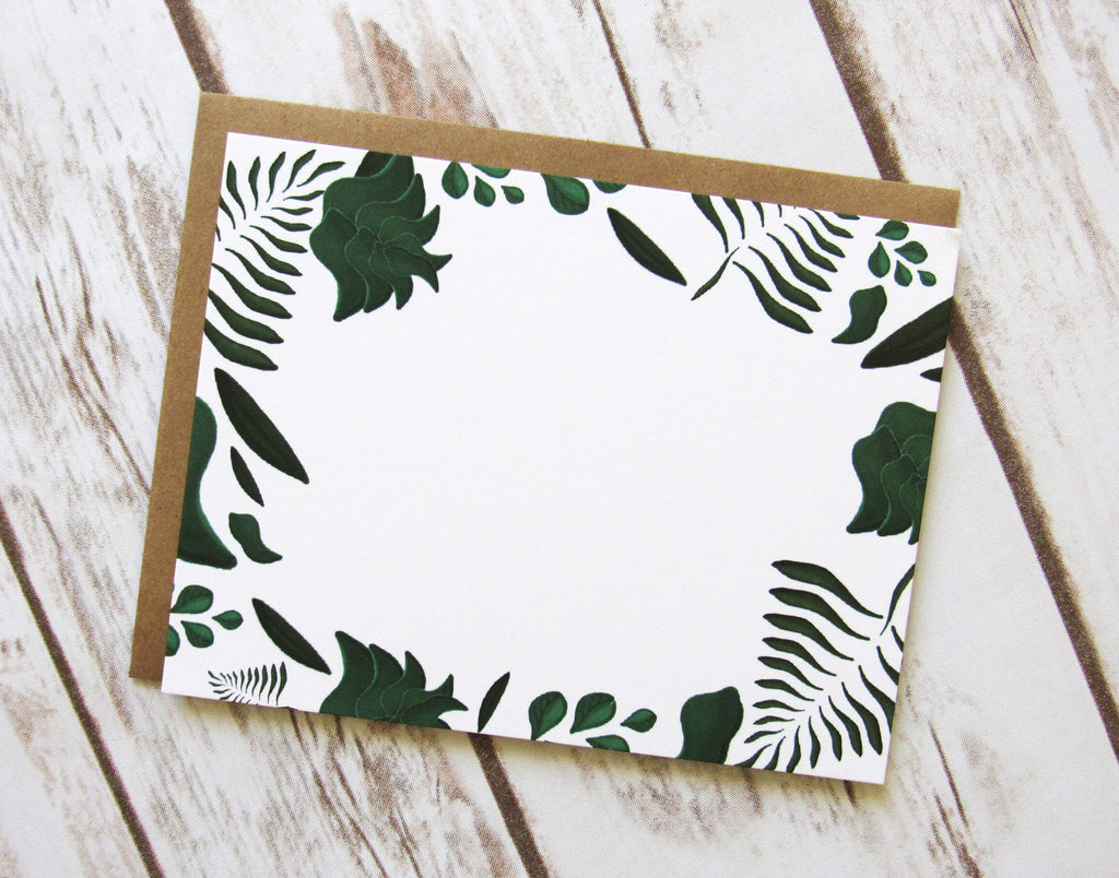 Green Wreath Note Cards