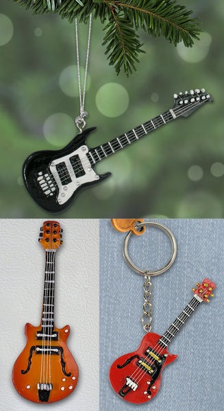Electric Guitar Gift Set - 1 Ornament, 1 Magnet and 1 Key chain(1165)
