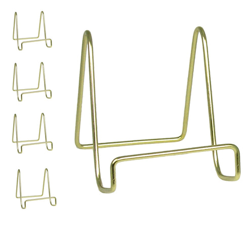 "4"" Gold Wire Easel Display Plate Holders Set of 4 (1301-4)"