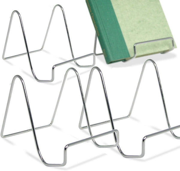 Silver Wire Easel Display Stand - Smooth Chrome Metal - 4 Inch - Pack of 4