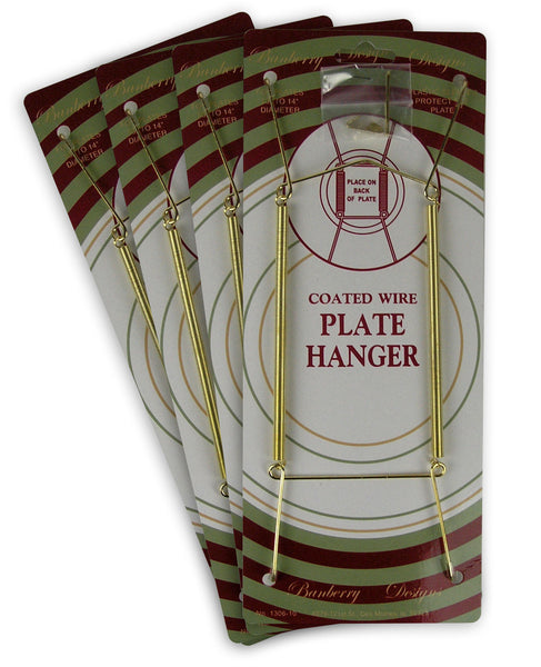 Brass Vinyl Coated Plate Hanger 10 to 14 Inch Pack of 4 Pieces