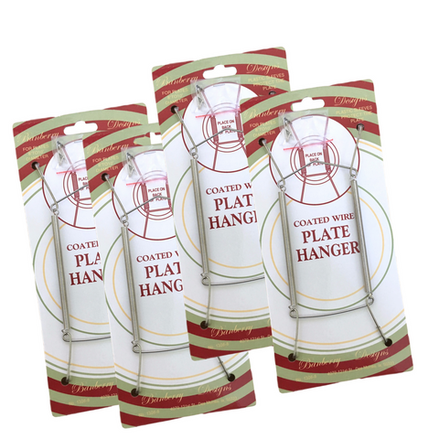 Chrome Vinyl Coated Plate Hanger 8 to 10 Inch - Set of 4 Pcs - Clear Vinyl Sleeves Protect the Plate - Hook and Nail Included