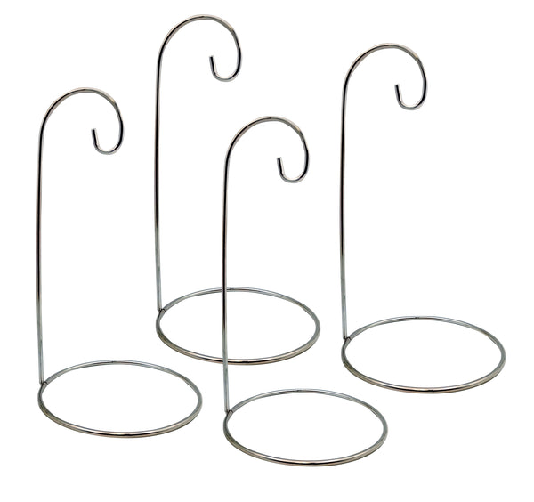 Chrome Silver Metal Hanging Ornament Stand Holders - Set of 4 Pieces - 9 Inches High