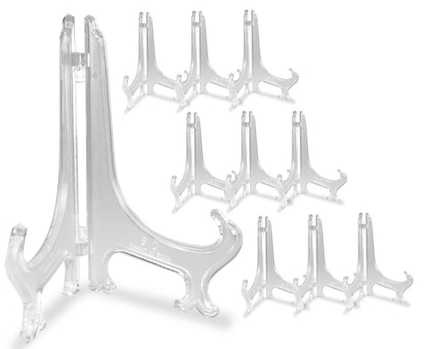 Clear Frosted Plastic Easel Folding Plate Holder Display Stand - 9 Inch - Pack of 10