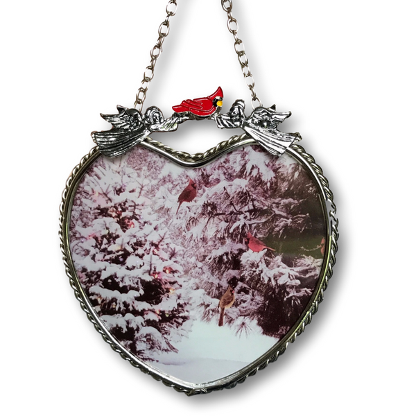 Winter Scene Suncatcher - Glass Heart Sun Catcher with Cardinals and Christmas Trees - Hanging Heart Window