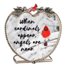 Memorial Candle Holder - When Cardinals Appear, Angels Are Near - Red Cardinal in Snowy Winter Scene Printed on Heart Shaped Glass Candle Holder