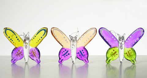 Glass Butterfly Ornaments - Set of 3(1945)