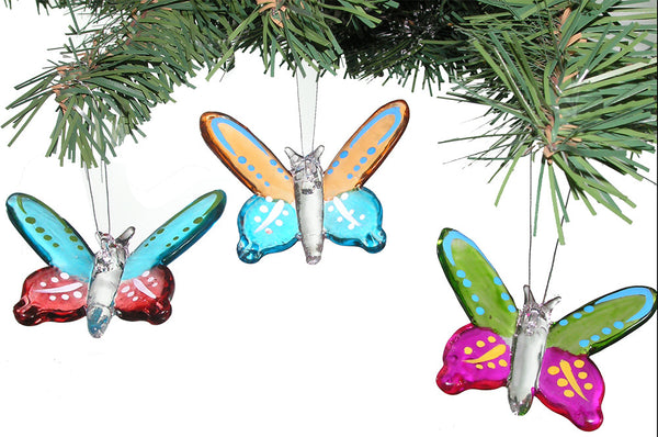 Glass Butterfly Ornaments - Set of 3
