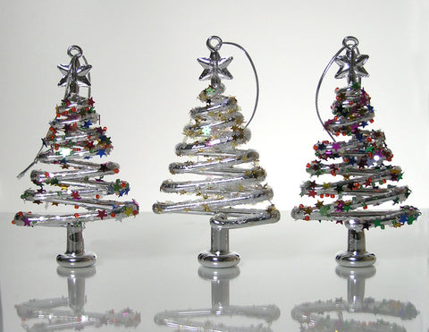 Glass Tree Ornaments - Set of 3