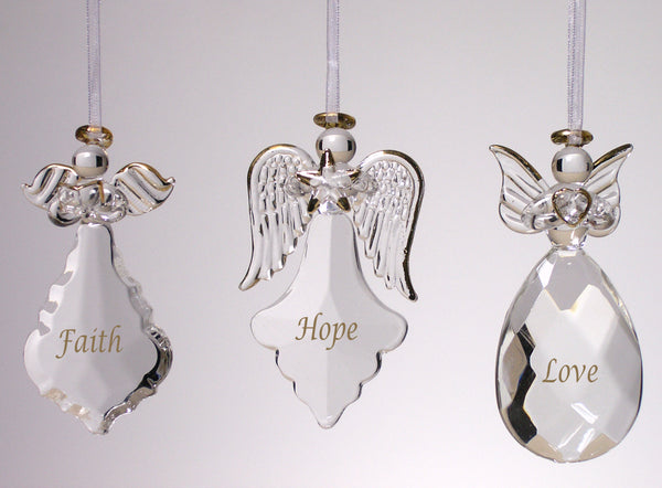 Angel Ornaments for Christmas Tree - Crystal Faith Hope Love Ornaments