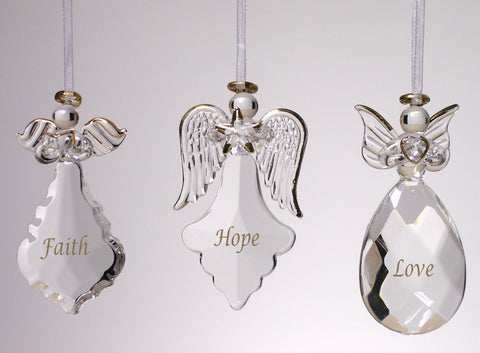 Angel Ornaments for Christmas Tree - Crystal Faith Hope Love Ornaments (1967)