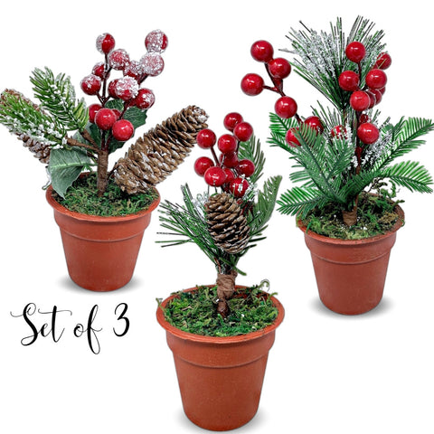 Tabletop Christmas Greenery Pots - Set of 3 Pots with Pine Red Berries and Pinecones (3304)