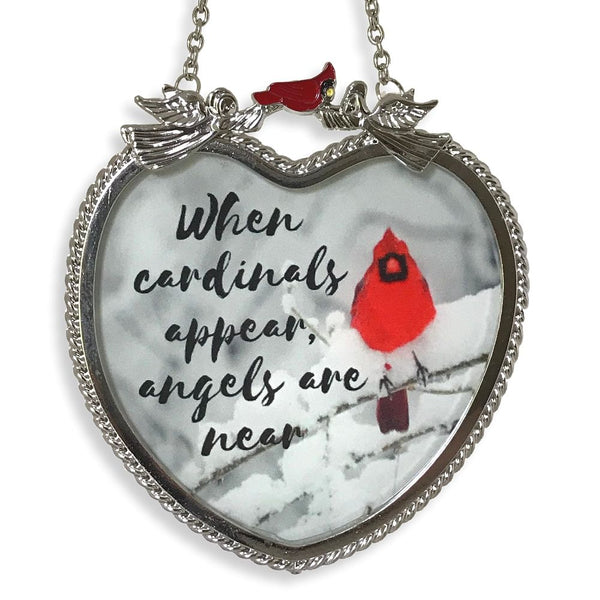 Memorial Cardinal Suncatcher - When Cardinals Appear Angels are Near Saying