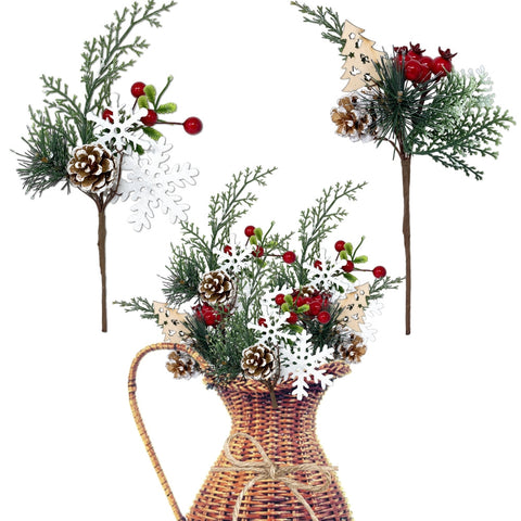 Woodsy Floral Picks Set of 10 –Snow Tip Pinecone Red Berries Sprays (3437)