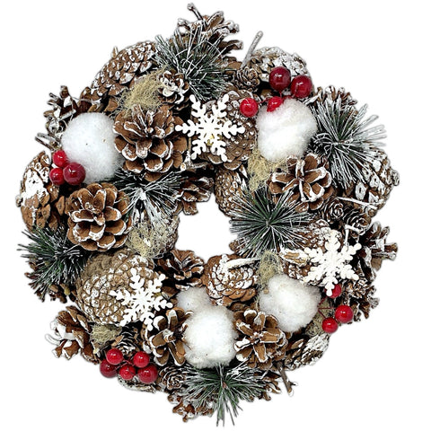 Woodsy Country Christmas Wreath with Snowy Pinecones